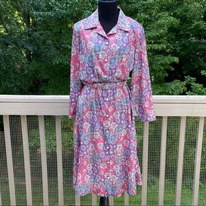 Vintage 70s 80s does 40s Western Paisley Day Dress